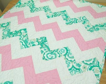 SALE Chevron Baby Girl Quilt Crib Bedding Nursery Bedding  Pink and Green