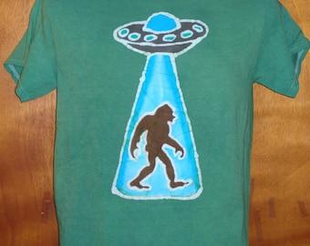 Alien Space Ship beaming up a Sasquatch Handmade Batik T-shirt