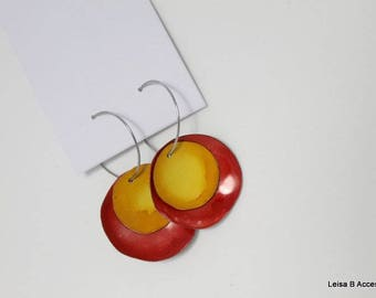 Red and Mustard Disk Earrings AIE1