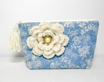 Large Cosmetic Pouch, Denim Make Up Bag,  Crochet Flower and Tassel
