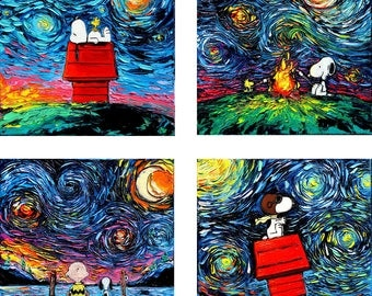 4 PRINT SET - Snoopy Art - Peanuts - Starry Night four print set by Aja 8x8 10x10 12x12 20x20 24x24 choose size
