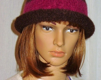 Bowler Felted Hat, Knit with Chocolate Brown and a Burgundy Band felted bowler knit hat brown burgundy