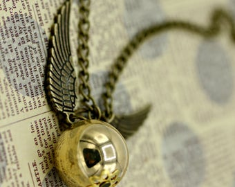 Steampunk Industrial Golden Snitch Harry Potter Necklace with Brass Wings 26 Inch Chain