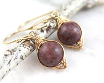 Lepidolite Gold Wrapped Earrings