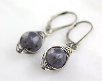 Iolite Wrapped Dangle Earrings Oxidized Silver