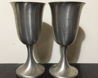 Set of 2 Preisner pewter goblets