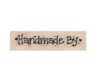 Quote rubber stamp HANDMADE BY stamping stamps supplies    no15321