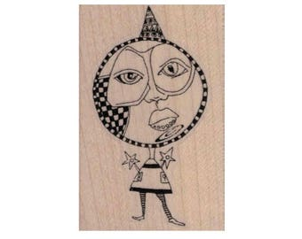 Circus rubber stamps Whimsical Circle Face Lady 1 3/4 x 2 1/2  stamp stamping pink flamingo mary lozinak   Rubber  20109