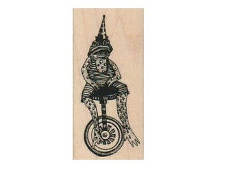 rubber stamps  frog on wheels  unicycle  Steampunk Rubber Stamp wood mounted designed by Mary Vogel Lozinak no 19217