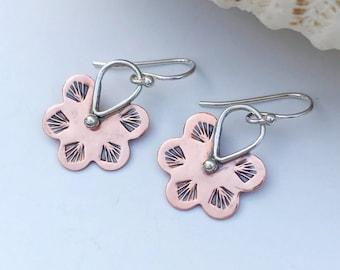 Mixed Metal Flower Earrings, Hand Stamped Copper Earrings, Sterling Silver and Copper Dangles Earrings, Light Weight Bohemian Earrings