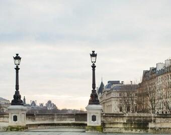 """Pont Neuf Photograph, Paris Decor, Large Wall Art, Parisian Architecture Print, Fine Art Photography, Bridge, Paris Print """"Matinale"""""""