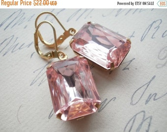 SALE Blush Pink earrings, pale pink earrings, Jane Austen earrings, Downton Abbey earrings, pink rhinestone earrings.