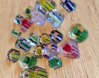 Cane Glass Beads - 4 small lots, destash