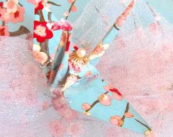 Sakura Peace Crane Bird Wedding Cake Topper Party Favor Origami Christmas Ornament Cherry Blossom Japanese Paper Anniversary Pink Blue