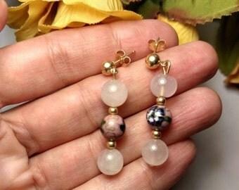 SALE TODAY Vintage Estate Solid 14K Yellow Gold Pink Rose Quartz Cloissone Enamel Long Drop Flower Earrings