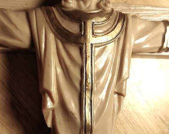 SALE TODAY Dated 1963 Large Vintage Early Plastic Unusual Crucifix Wall Cross Jesus Crown Robes Gold Accents