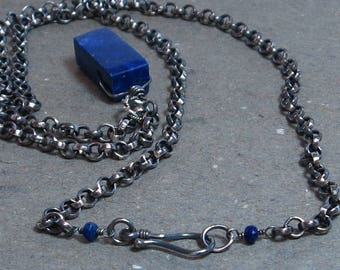 Lapis Lazuli Necklace Large Royal Blue Gemstone Chunk Pendant Oxidized Sterling Silver Rolo Chain Gift for Her