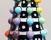 Rainbow Pop Dot Grid Dalek  --Handmade Lampwork Bead