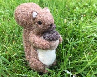 Needle Felted Squirrel Templeton Figurine