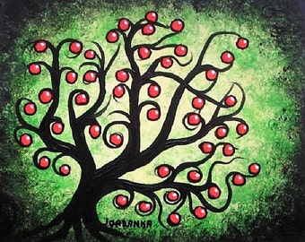 Apple tree, Tree art, Green tree, Original acrylic painting, Red apples, Jordanka Yaretz
