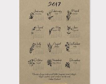 8x10 print / 2017 flower calendar on kraft paper