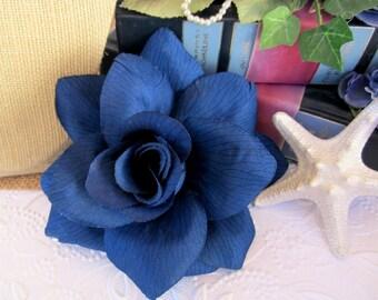 Navy Blue Rose, Rose Hair Clip, Dark Blue Pinup Rose Hair Clip, Blue Flower