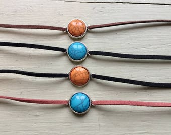 turquoise leather choker-turquoise necklace-orange turquoise necklace-faux turquoise necklace-faux turquoise choker