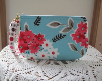 Wristlet Zipper Gadget Purse Pouch in Flea Market Fiesta Bouquet in Turquoise