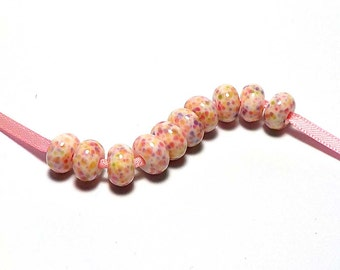 Handmade Lampwork Glass Mini Beads in Cherry Blossoms