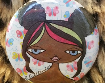 One of a Kind, Hand-Painted, Original Wearable Artwork - Pink, Green & Black Haired Girl with Poofs Button
