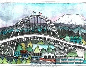 Fremont Bridge Postcards - Portland Bridge - Portland Postcards - Set of Portland Postcards - Illustrated Postcards - Fremont Bridge Cards