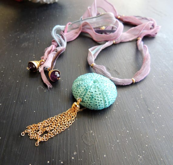 Morrow Bay Sea Urchin Pendant Necklace on Silk Ribbon