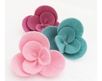 Large Wool Blend Felt Flowers - Pick Your Set