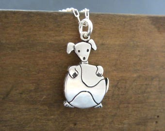 Sterling Dog with a Tennis Ball Necklace - Silver Silver Retriever Dog Pendant