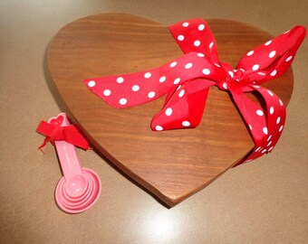 A Heart Shape Valentine Cutting Board Chop Block made from selected Cherry Hardwood