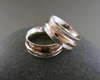 Leaf Print Meditation Ring in Sterling Silver and 14K Gold Fill