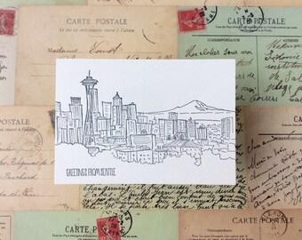 Seattle - five letterpress postcards