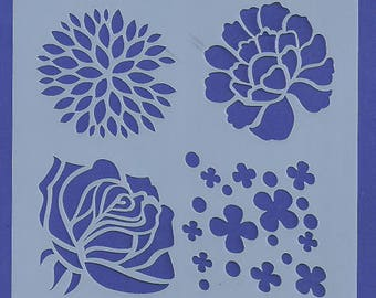Stencil Stencils Pattern, Cake DIY Decorating, Wall stencil, Template, Reusable, Flexible, for clay, glass, cards | ROSES | 5.1 inch/13 cm