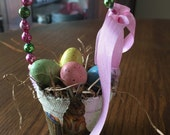 Mini peat pot Easter basket ornament