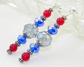 Patriotic dangle earrings, Beaded earrings, July 4th, Independence Day, Support, Mother's Day, Birthday, Gift for her, Whimsical Jewelry