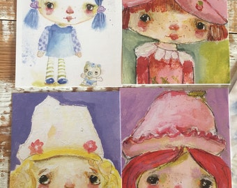 Strawberry shortcake and friends - postcard set of 4