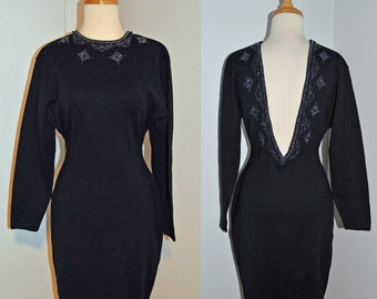 CLASSIC SEXY -  vintage black beaded bodycon super low back sweater dress - holiday party - small medium