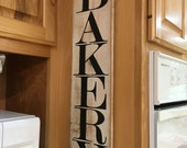 BAKERY WOOD SIGN Hand-painted Vertical