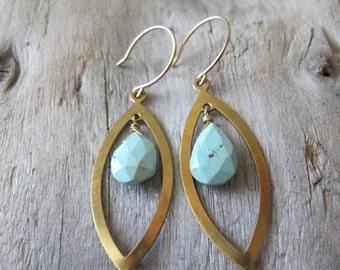 SALE Turquoise Earrings, Brass Almond Dangles, 14K Gold Filled Ear Wires