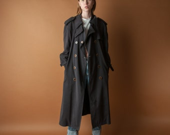 oversized black trench coat / classic rain trench coat / vintage spy trench coat / s / 550o / R4