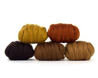 ON SALE Barky Brown Merino Variety Pack - 5 Colors - 50 grams per color = 250 Grams or 8.8 oz total to Spin, Felt, Create Fiber Art