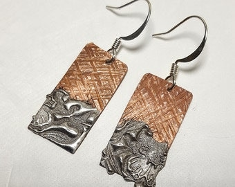 Copper Solder Stamped Earrings #3