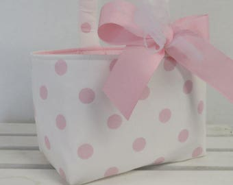 Custom Listing for Katie - Larger Size - Fabric Easter Basket - Pink Dots on White Fabric for the outside