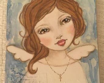 WaterColor Angel Painting Original