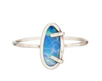 Boulder Opal Sterling Silver Ring
